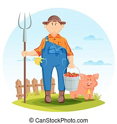 Farmer man on farming field with pig and pitchfork. Pork and...