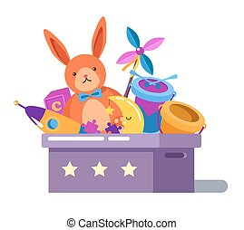 Toy box or chest with rabbit doll and rocket