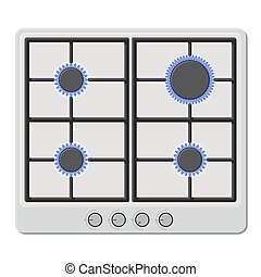 Surface of White Gas Hob Stove with Fire On. Vector...