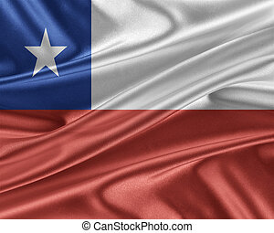 Chile flag with a glossy silk texture. - Chile flag. Flag...