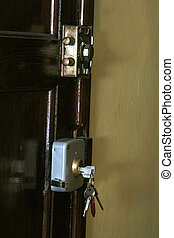 old wooden lockable vintage door