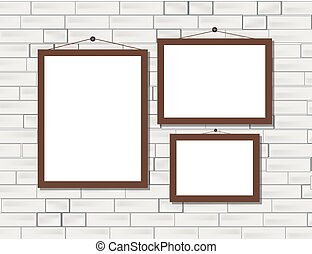 Vector trendy blank poster on the white brick wall realistic mockup
