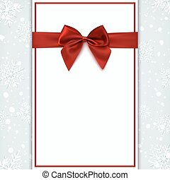 Blank greeting card with red bow.