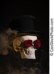 Skull in tophat with red roses in eye sockets
