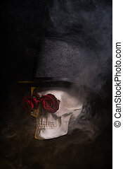 Spooky skull in tophat with red roses