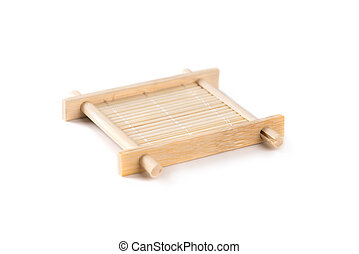 Small bamboo serving tray for tea ceremony, isolated on...
