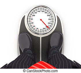 3d businessman on bathroom scales, illustration with...