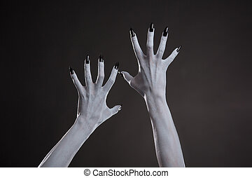 Demonic hands with black nails, Halloween body art