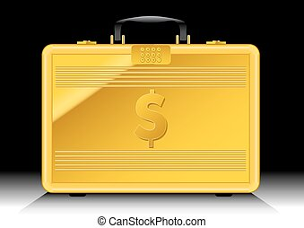 Gold suitcase with $ sign on side