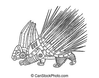 Steampunk style porcupine coloring book vector - Steampunk...