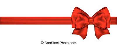 Red bow with ribbon on a white background
