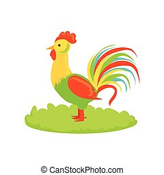 Rooster Farm Bird Cartoon Farm Related Element On Patch Of Green Grass