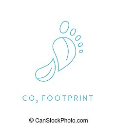 Carbon footprint icon with linear footprint leaves icon....