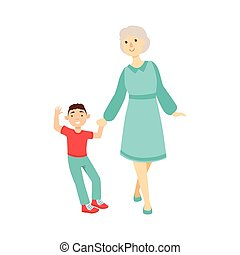 Grandmother And Grandson Walking Holding Hands,Part Of...
