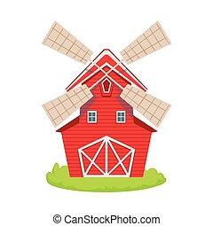 Red Wooden Windmill Cartoon Farm Related Element On Patch Of Green Grass