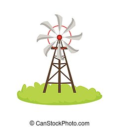 Energy Windmill Structure Cartoon Farm Related Element On...