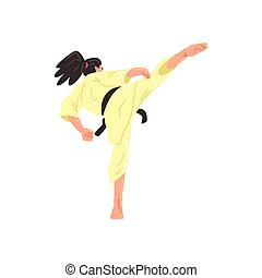 Karate Professional Fighter In Kimono With Black Doing Leg...