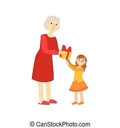 Grandmother Giving Present To Granddaughter, Part Of Grandparent And Grandchild Passing Time Together Set Of Illustrations