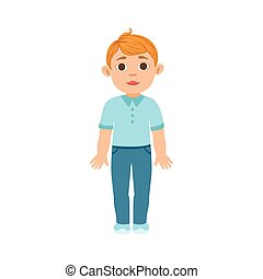 White Boy Kid Standing, Part Of Growing Stages With Kids In Different Age Vector Set