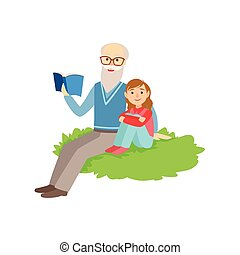 Grandfather And Grandson Reading Book, Part Of Grandparent...