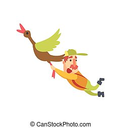 Funny Childish Hunter Character With Moustache Flying Away Carried By Duck Cartoon Vector Illustration