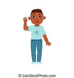 Black Boy Kid Waving, Part Of Growing Stages With Kids In Different Age Vector Set