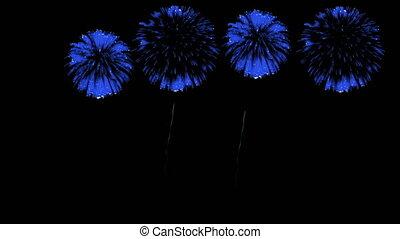 3D Render Multiple Fireworks Blue Sharp Vibrant Clean 4K ver. 1
