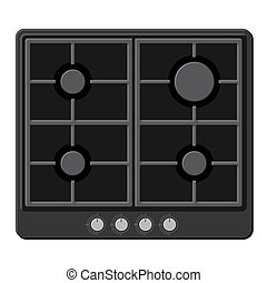 Surface of Black Gas Hob Stove. Vector illustration