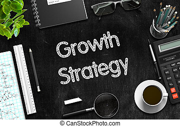 Growth Strategy Concept on Black Chalkboard. 3D Rendering.