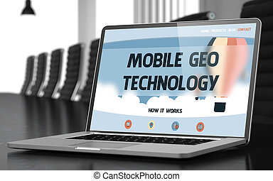 Mobile Geo Technology on Laptop in Meeting Room. 3D. -...