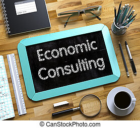 Economic Consulting Handwritten on Small Chalkboard. 3D. -...