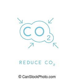 Reduce carbon CO2 emissions concept icon with cloud. Vector illustration.