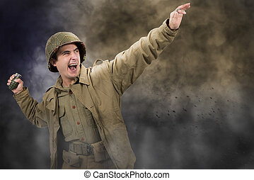 American soldier ww2 throwing a grenade - young American...