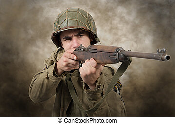 American soldier ww2 attack - young American soldier ww2...