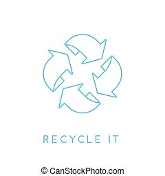 Recycle it - abstract blue linear recycling icon. Vector illustration.