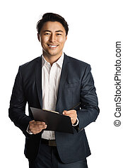 Smiling businessman with document - Attractive businessman...