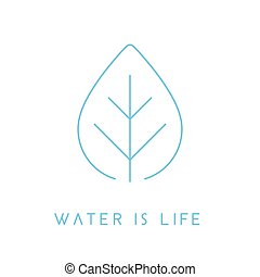 Water is life concept water drop leaf icon. Vector illustration.