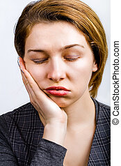sonolento, mulher, olhar, muito, aborrecido, cansadas