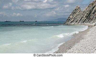 Sea Lagoon near Mountains at beauty sunny day