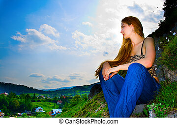 Woman looking over panorama