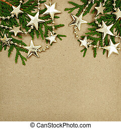 Cardboard with evergreen twigs and Chrisrmas garland - Brown...