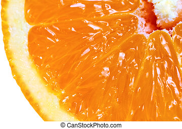 Macro detailed view of sliced orange fruit over white