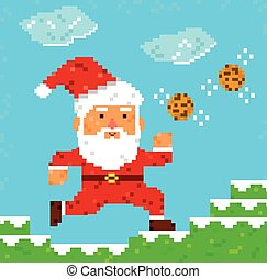 pixel art Santa Clause - retro 8 bit pixel Santa Clause...