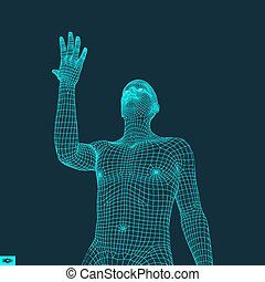 Man Points to Something by Hand. 3D Model of Man. Geometric...