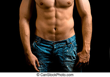 Torso of muscular man with nice abdomen
