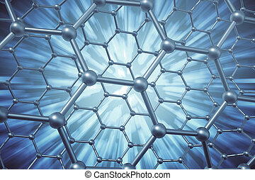3d rendering abstract nanotechnology hexagonal geometric...