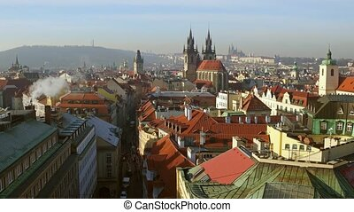 Beautiful roofs of old town of Prague on a sunny day, Czech...