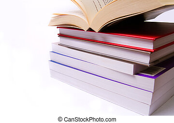 Pile of books isolated on white background - Pile of...