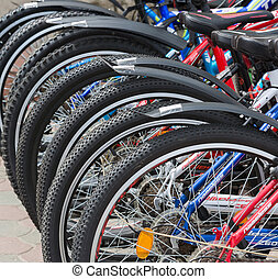number of bicycle wheels outdoor - a number of a bicycle...