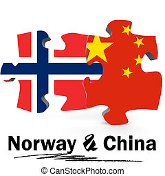 China and Norway flags in puzzle